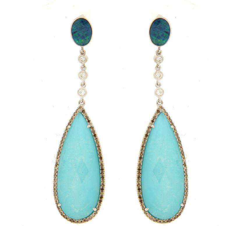Meira T Opal and Turquoise Drop Earrings
