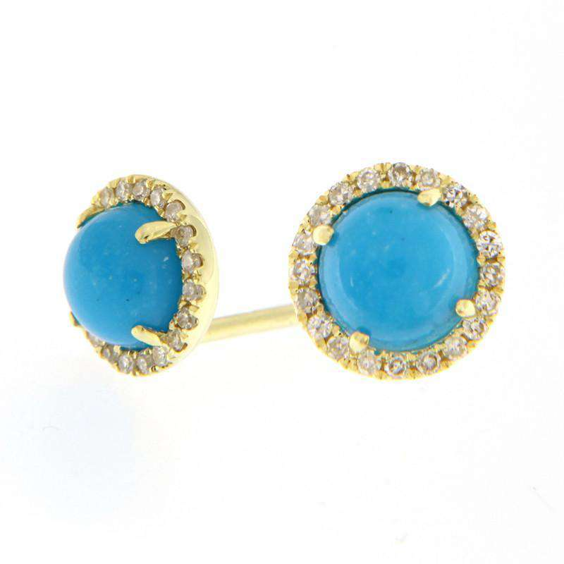 Meira T Gray moon Stone Diamond Studs