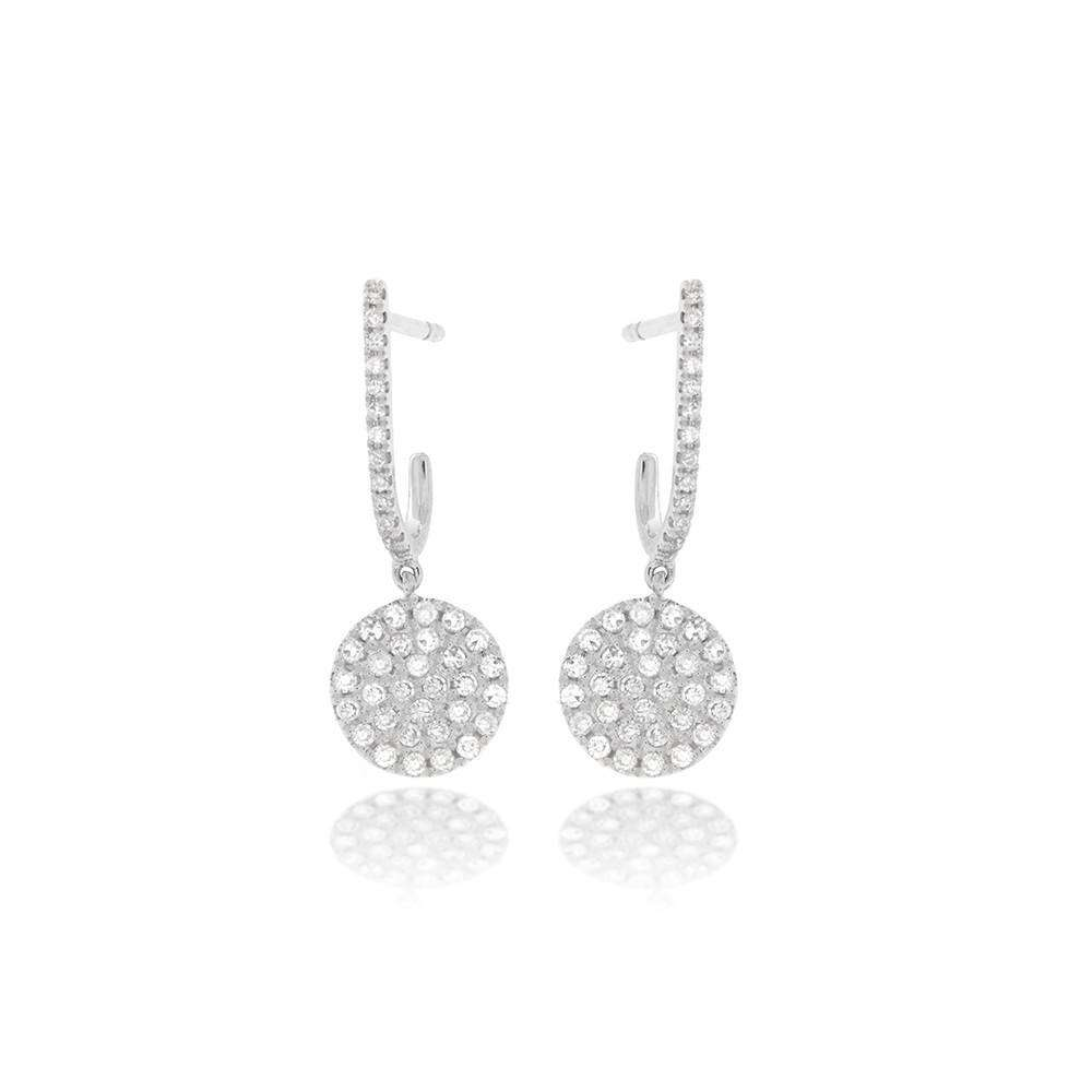 Meira T Pave Diamond Disc Earrings with Diamond Hoops