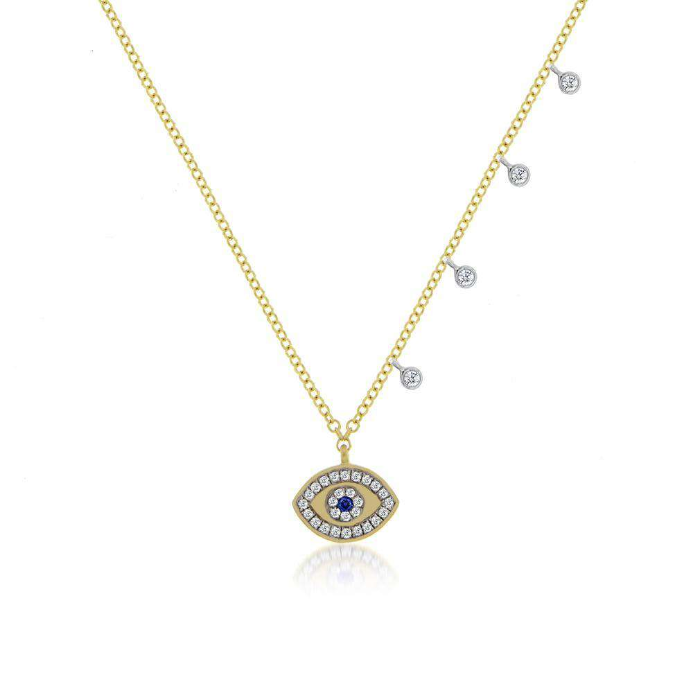 Meira T Sapphire and Diamond Evil Eye Necklace