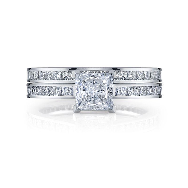 Deutsch Signature Eternity Bridal Set with Channel Set Princess Diamonds