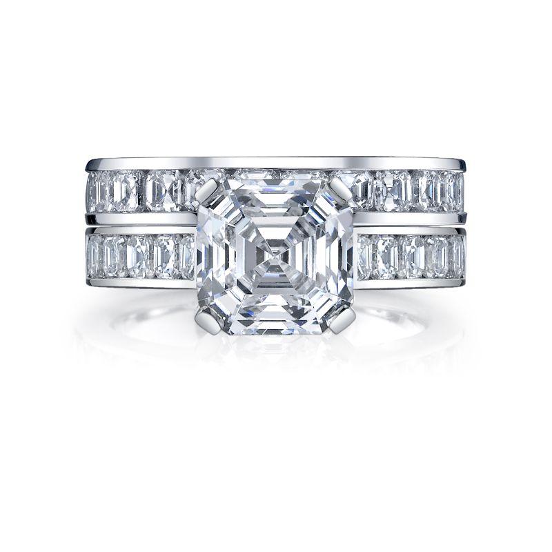 Deutsch Signature Eternity Bridal Set with Channel Set Asscher Diamonds