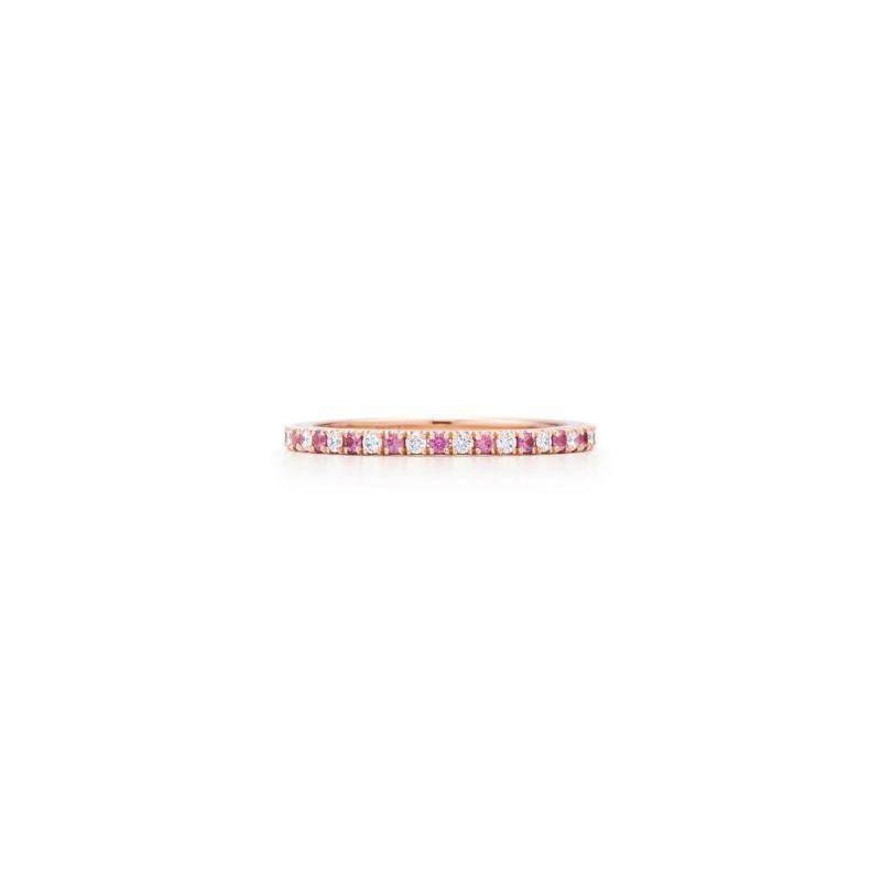 Kwiat Thin Stackable Alternating Diamond and Pink Sapphire Ring