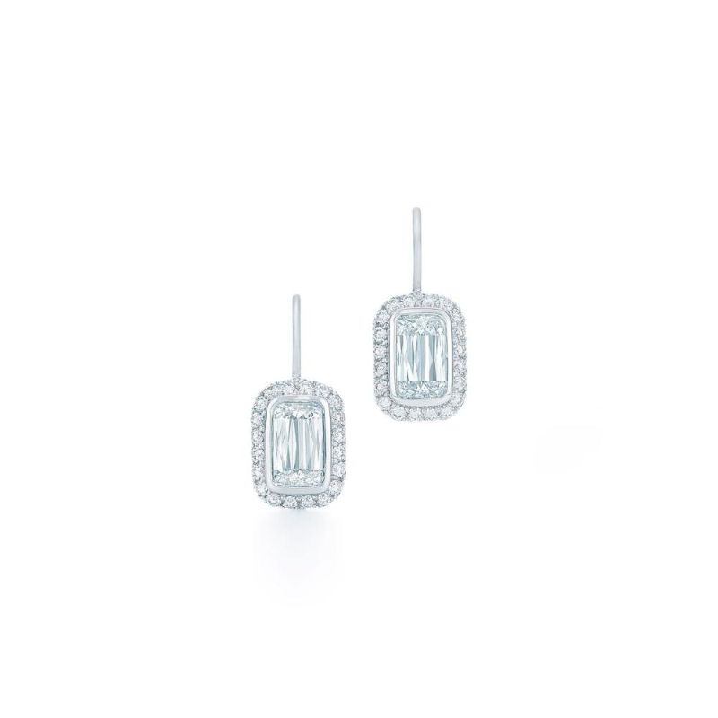 Kwiat Ashoka Bezel Set Silhouette Diamond Earrings, 1 Carat Each Center Diamond