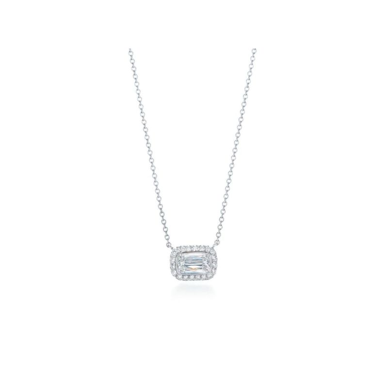 Kwiat Ashoka Bezel Set East-West Silhouette Diamond Pendant, 0.70 Carat Center Diamond
