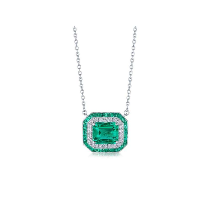 Kwiat Colombian Emerald Pendant with Double Halo
