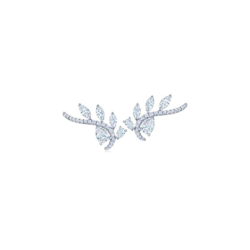Kwiat Vine Diamond Five-Leaf Climber Earrings