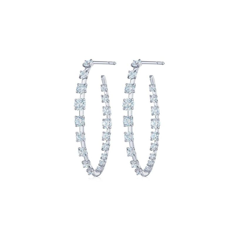 Kwiat Starry Night Round Diamond Hoop Earring