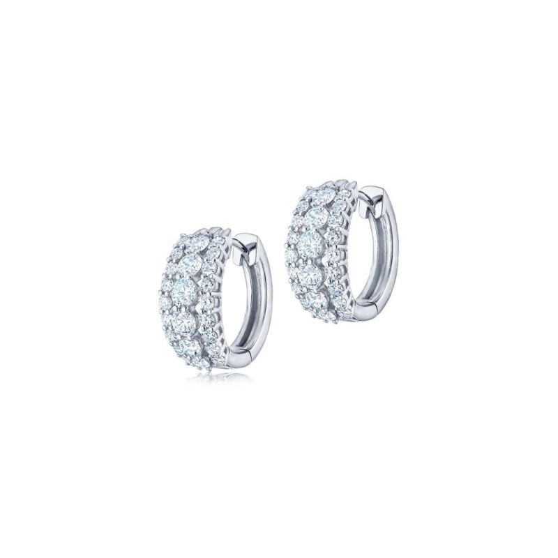 Kwiat Eclipse Three Row Round Diamond Huggie Earrings