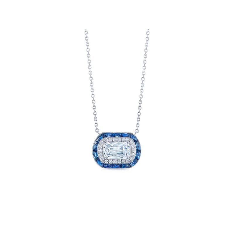 Kwiat Ashoka Diamond and Calibre Sapphire Halo Pendant, 1 Carat Center Diamond
