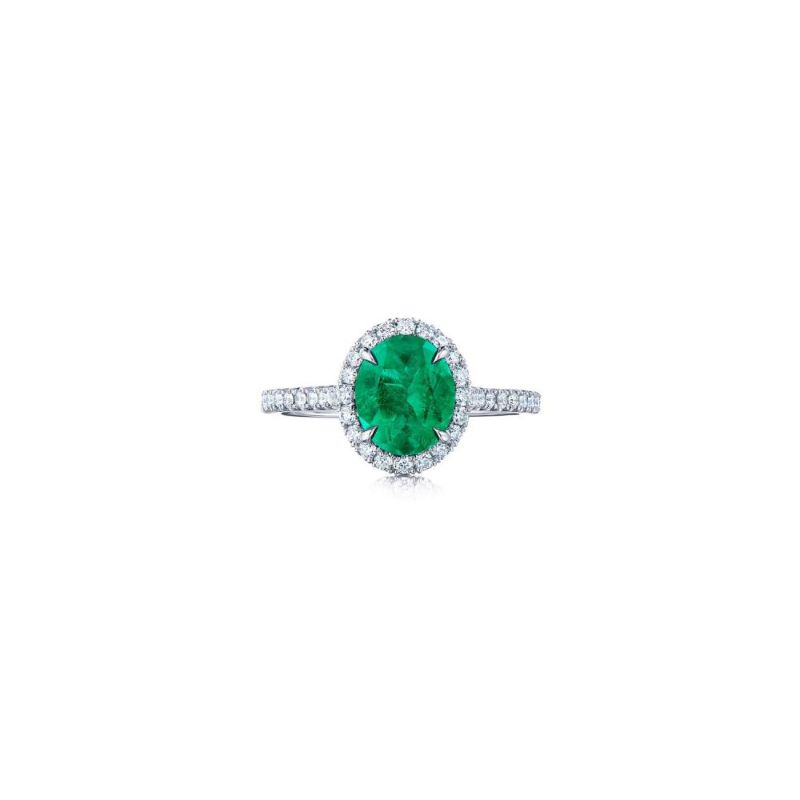 Kwiat Colombian Emerald Ring with an Oval Emerald