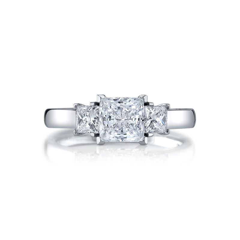 Deutsch Signature Princess Cut  3-Stone Rings Semi Mount