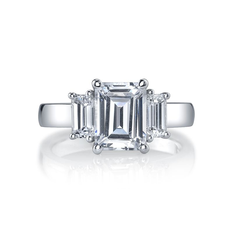 Deutsch Signature Emerald Cut  3-Stone Rings Semi Mount