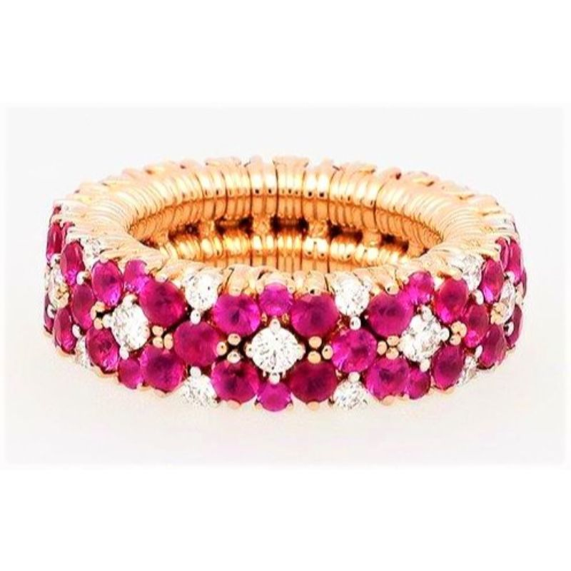 2 Row Diamond and Ruby Stretch Ring
