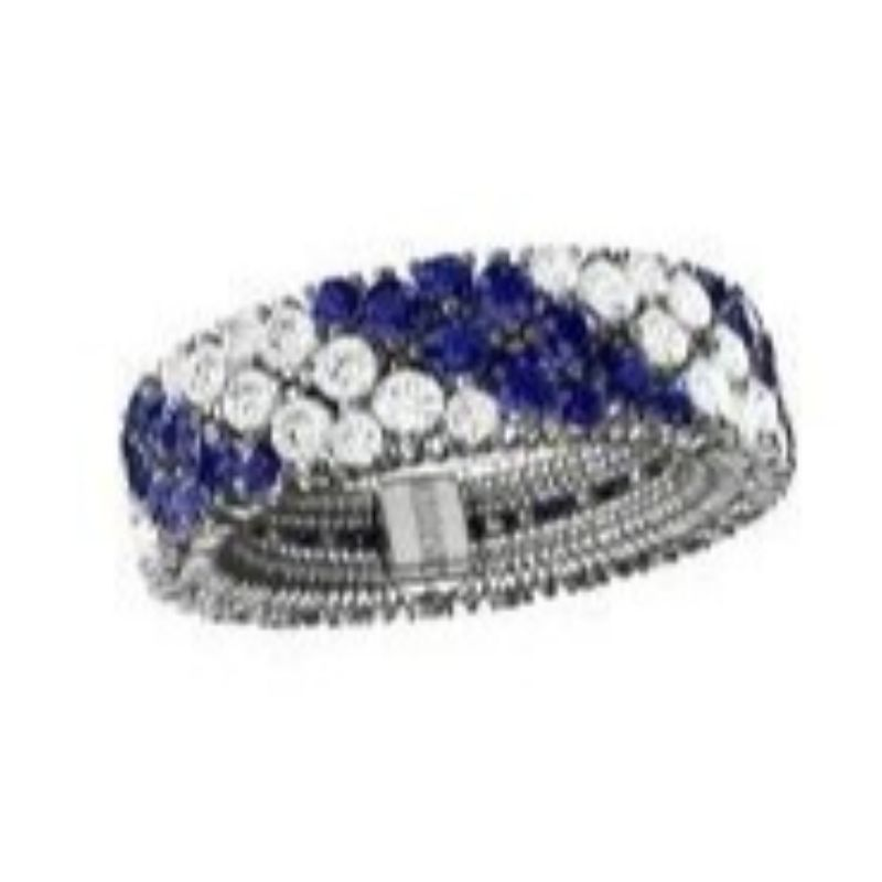 2 Row Diamond and Blue Saphhire Stretch Ring