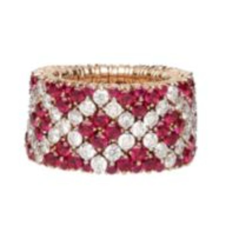 4 Row Ruby and Diamond Stretch Ring
