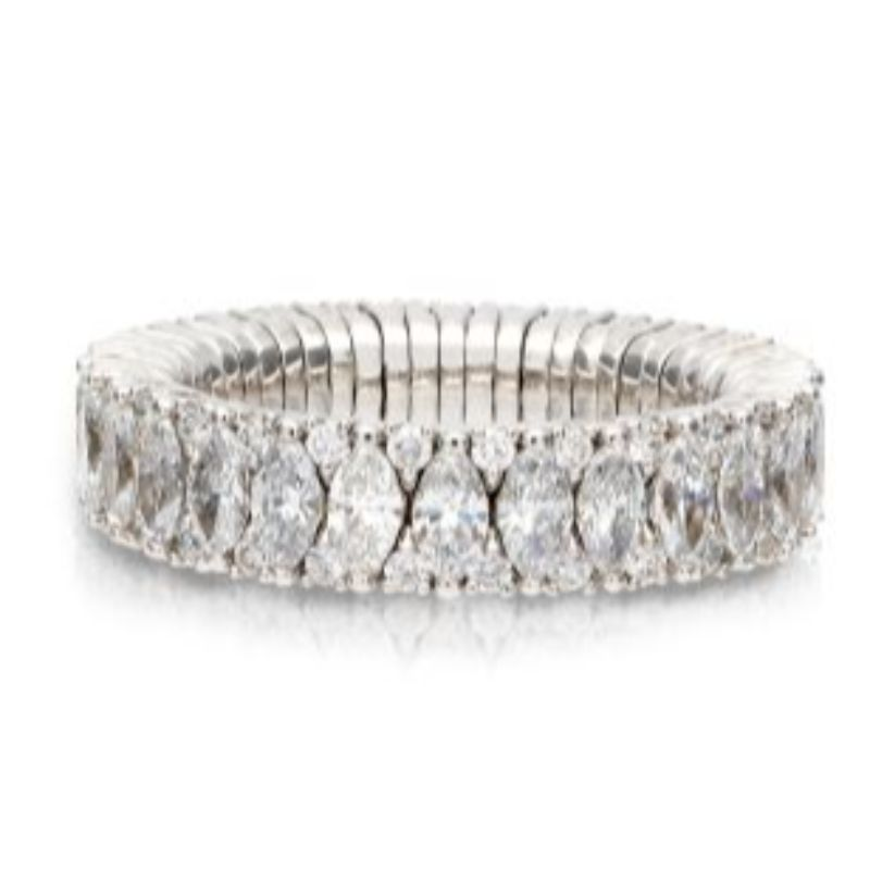 2 Row Marquise and Round Diamond Stretch Ring