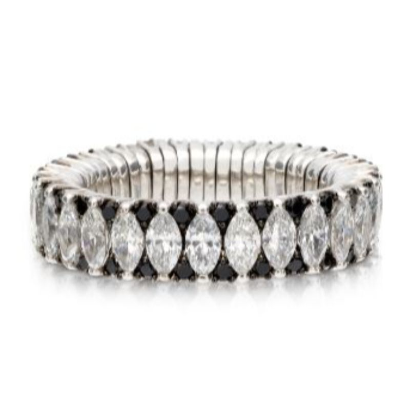 2 Row Marquise Diamond and Black Diamond Stretch Ring