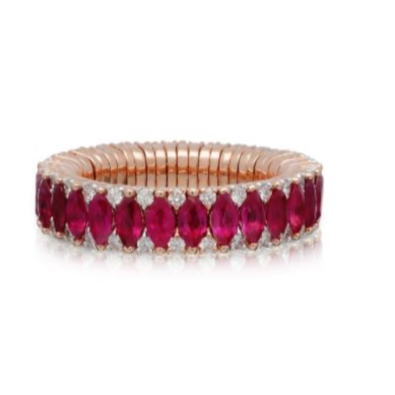 2 Row Ruby Marquise and Diamond Stretch Ring