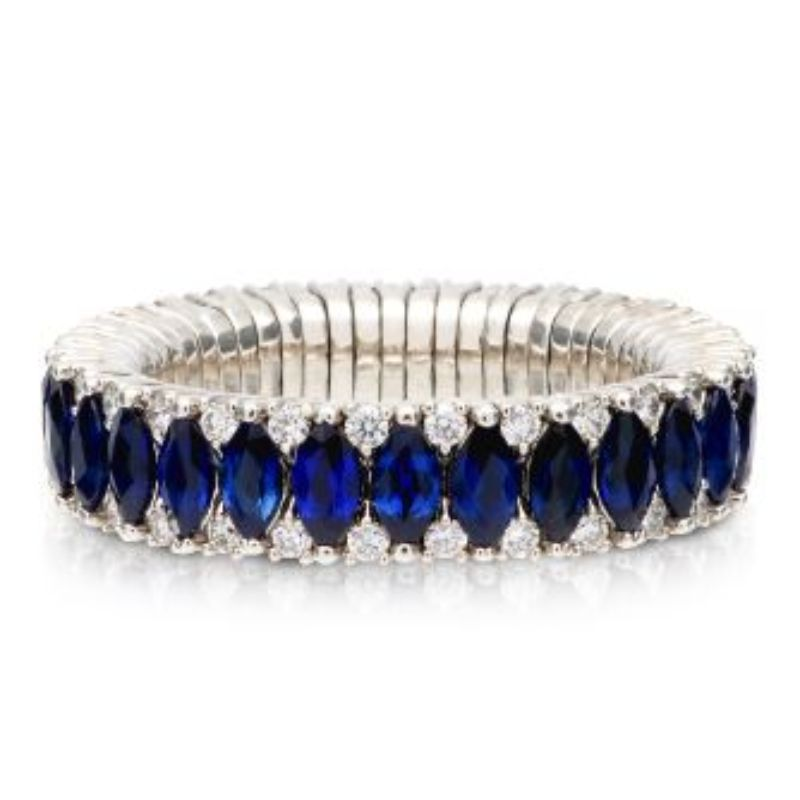2 Row Blue Sapphire Marquise and Diamond Stretch Ring