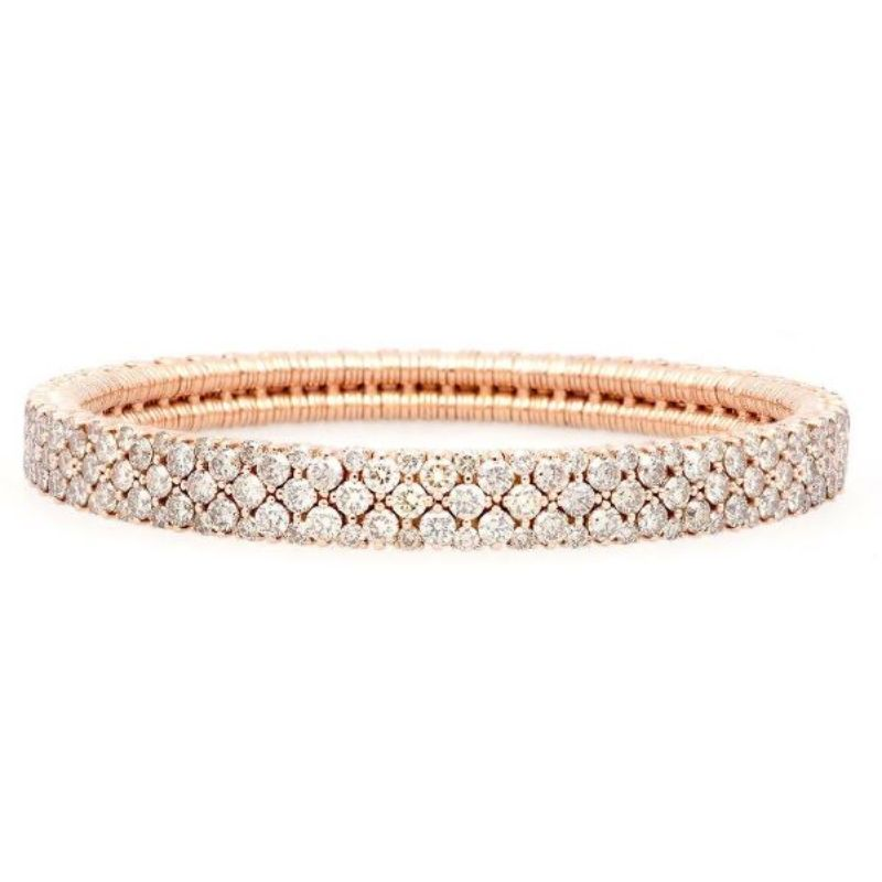 2 Row Champagne Diamond Stretch Bracelet