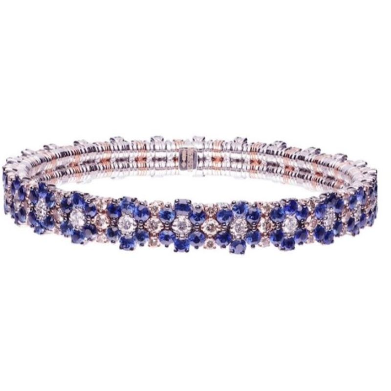 2 Row Blue Sapphires, Champagne Diamond and Diamond Stretch Bracelet