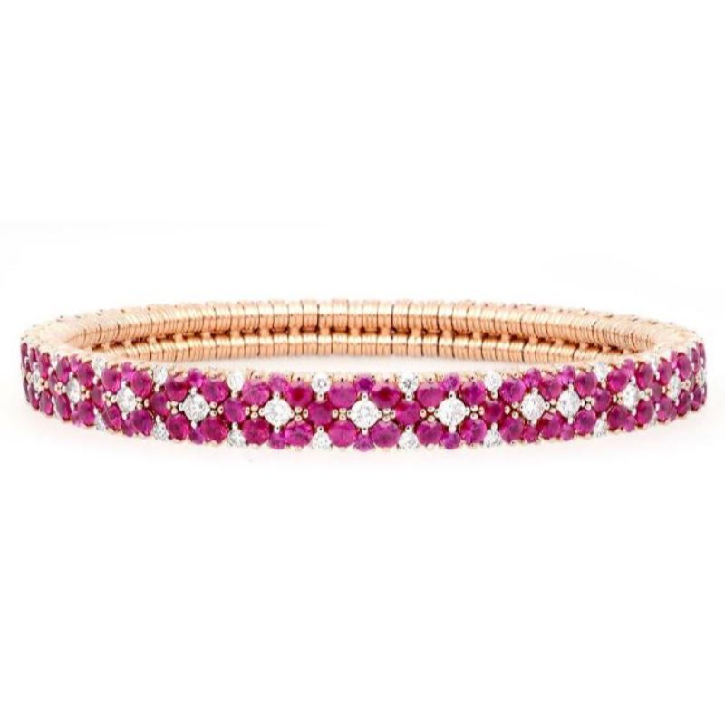 2 Row Diamond and Ruby Stretch Bracelet