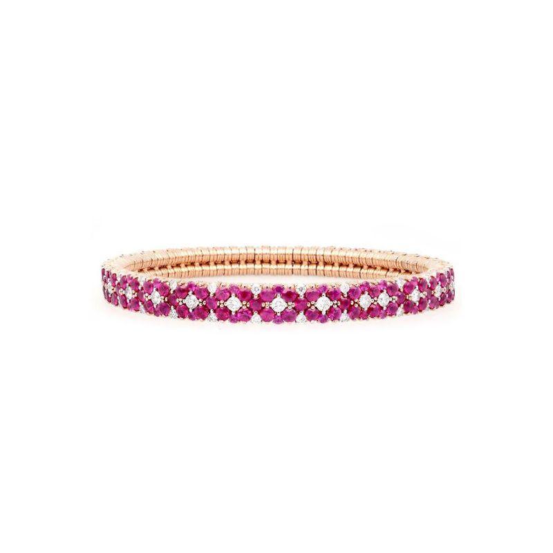 2 Row Diamond and Ruby Stretch Bracelet