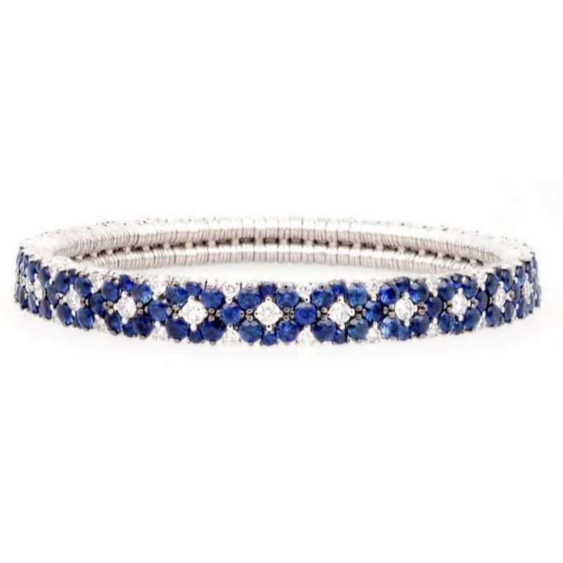 2 Row Diamond and Blue Saphhire Stretch Bracelet