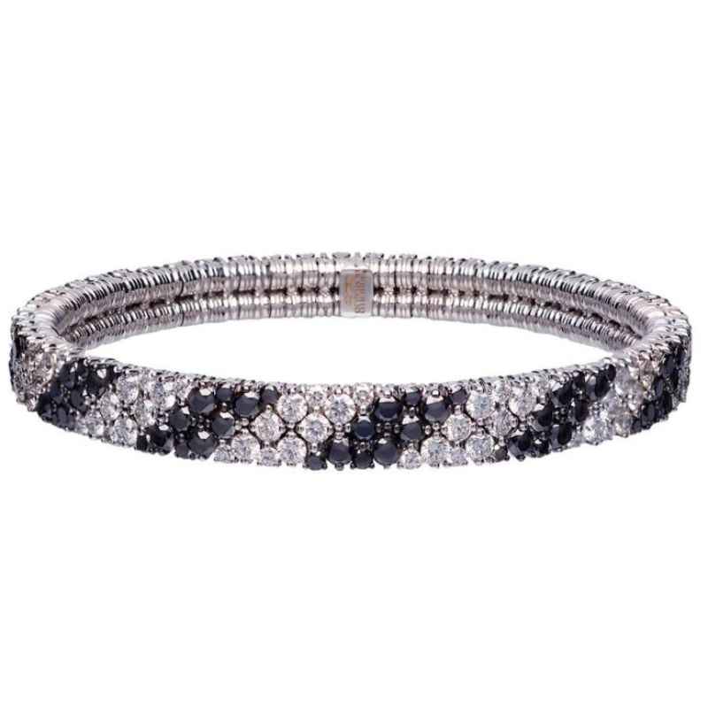 2 Row Diamond and Black Diamond Stretch Bracelet