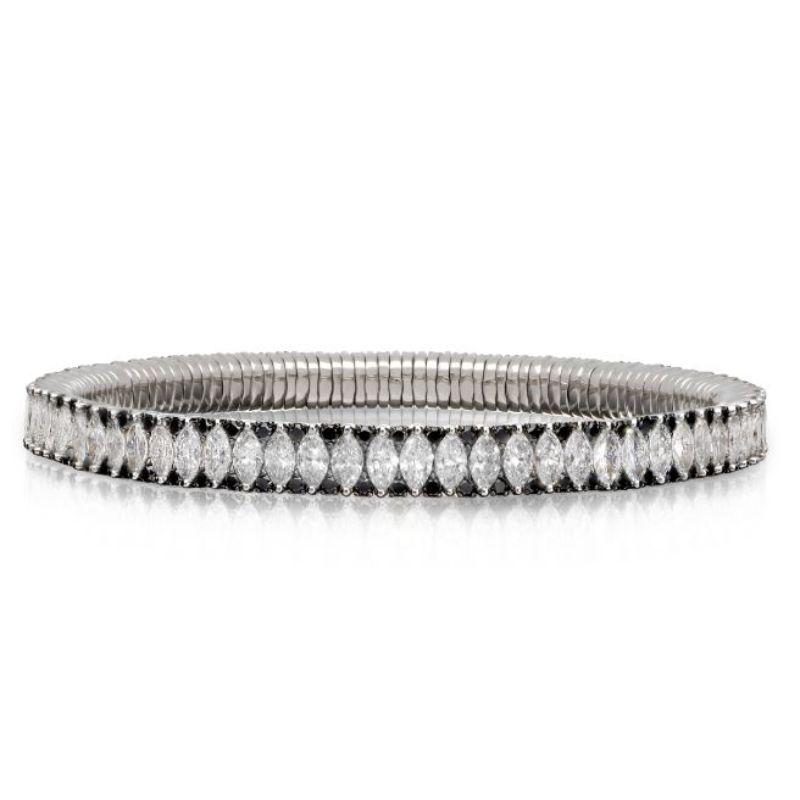 2 Row Marquise Diamond and Black Diamond Stretch Bracelet