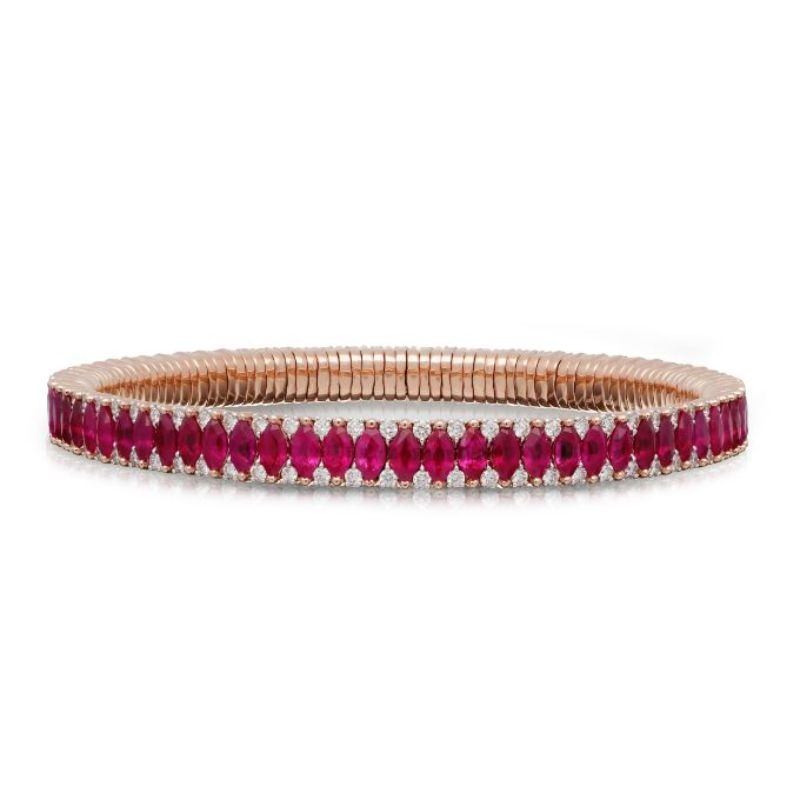 2 Row Ruby Marquise and Diamond Stretch Bracelet