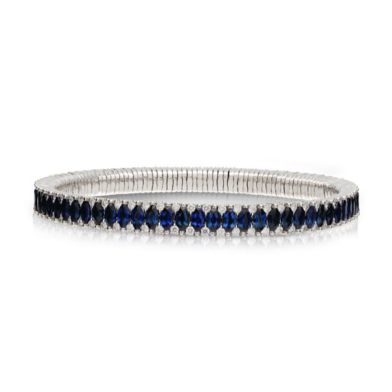 2 Row Blue Sapphire Marquise and Diamond Stretch Bracelet