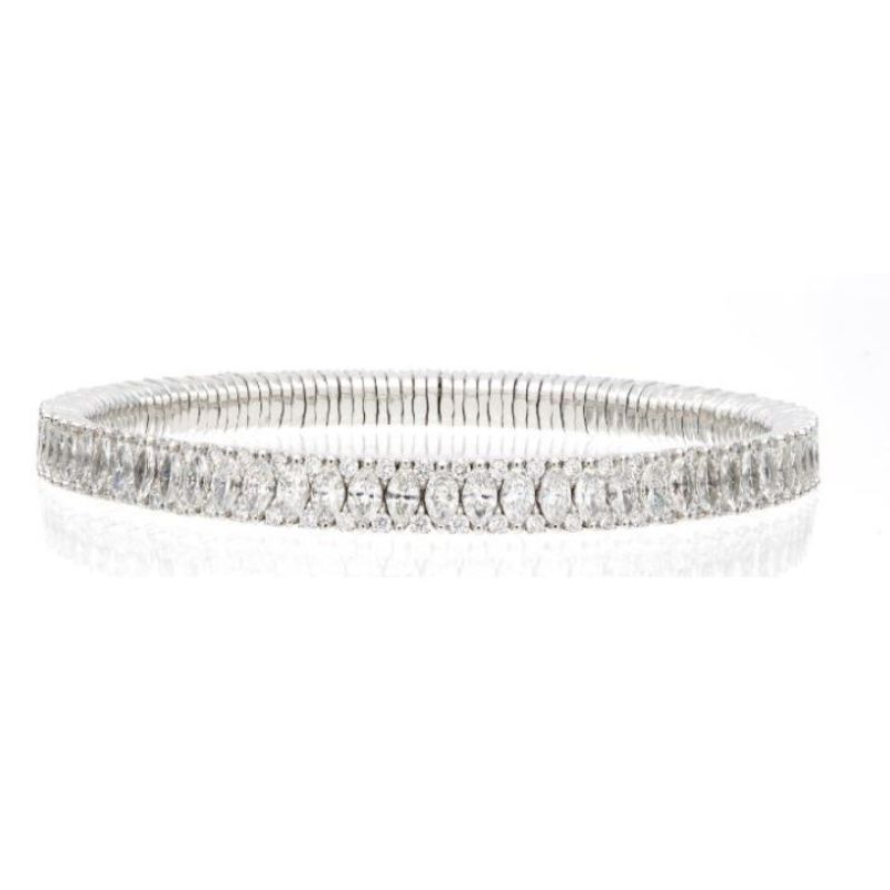 2 Row Marquise and Round Diamond Stretch Bracelet