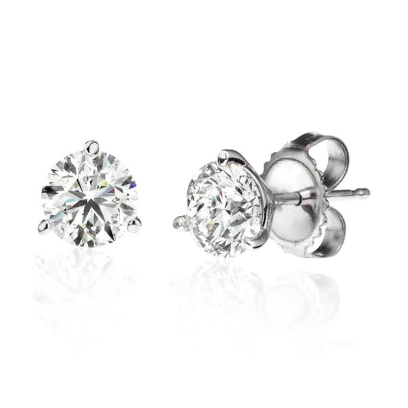 Deutsch Signature 3 Prong Round Diamond Stud Earrings