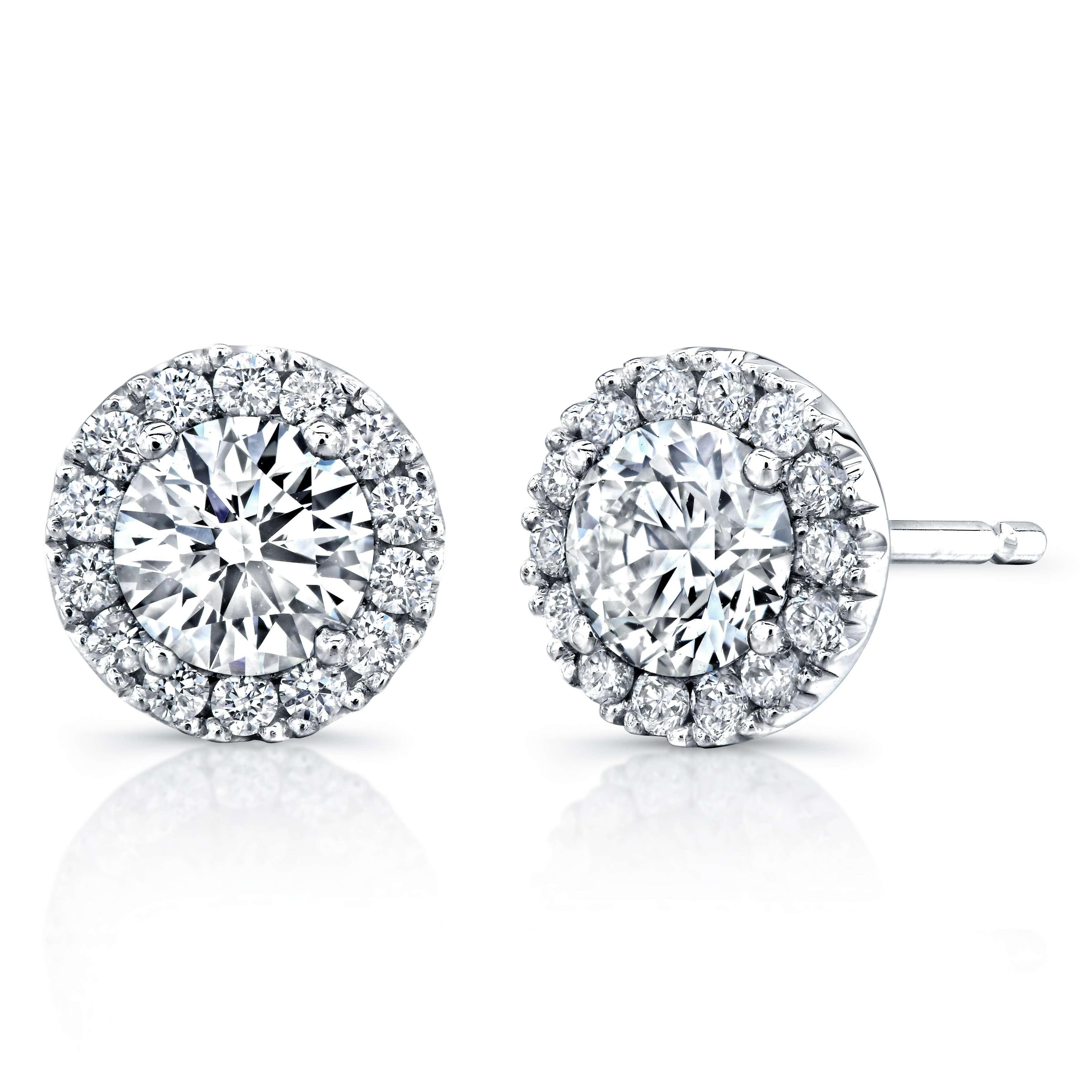 Deutsch Signature Round Cut Diamond With Halo Stud Earrings