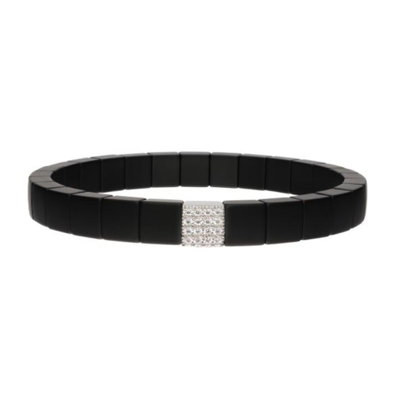Matte Black Ceramic Stretch Bracelet with 1 Diamond Station