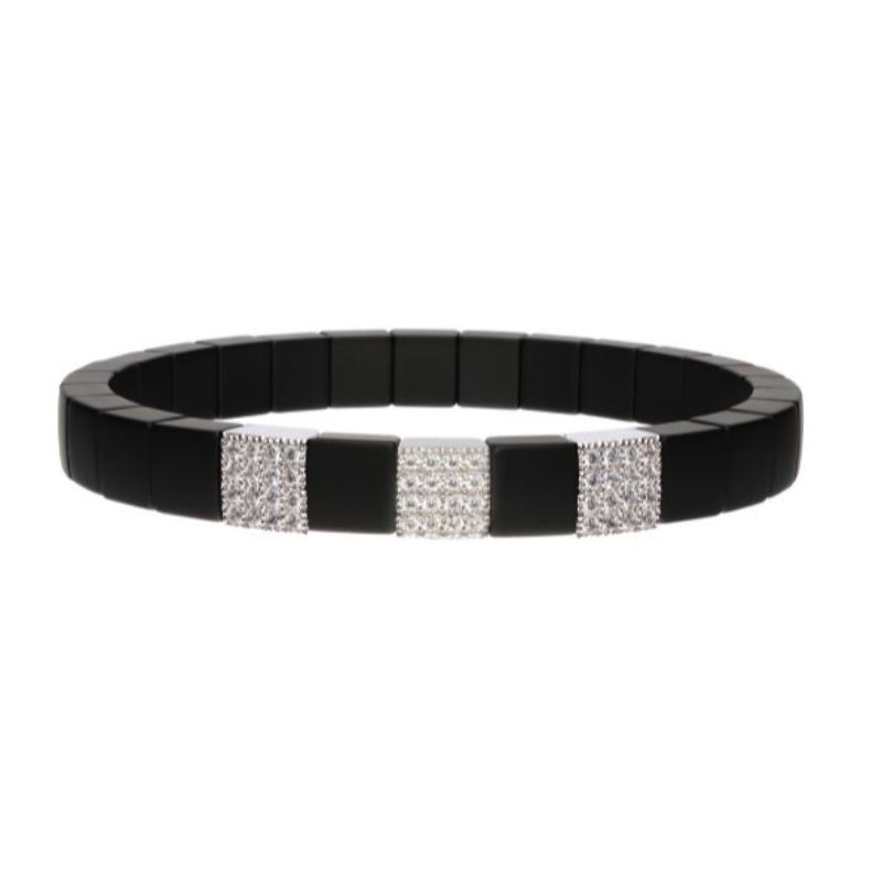 Matte Black Ceramic Stretch Bracelet with 3 Diamond Stations
