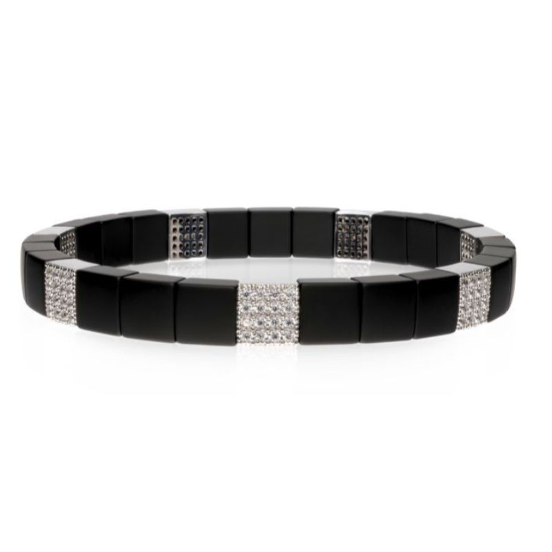 Matte Black Ceramic Stretch Bracelet with 7 Diamond Stations