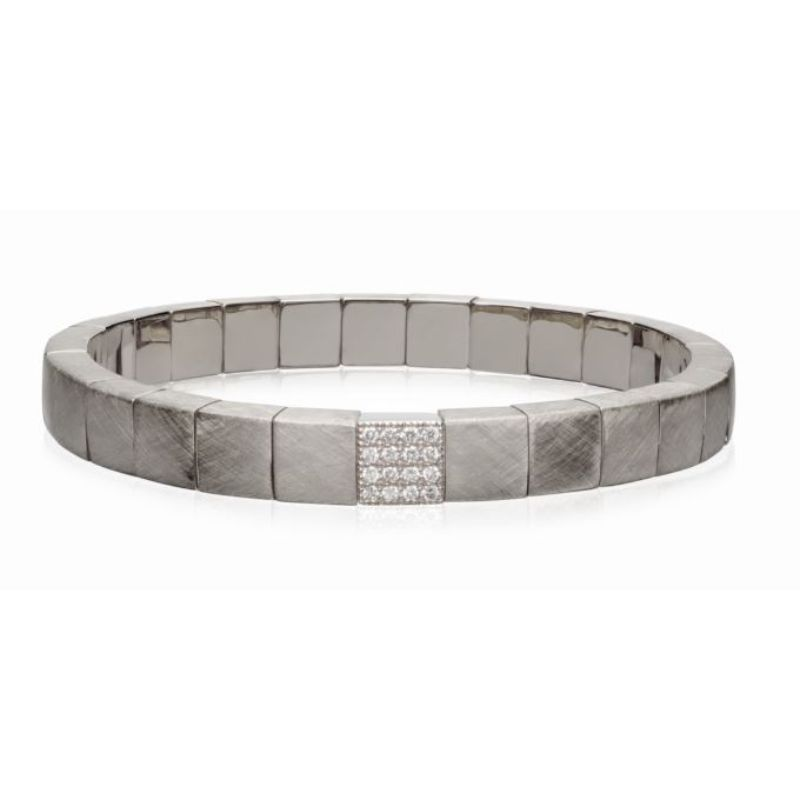 Matte 18K White Gold Stretch Bracelet with 1 Diamond Station