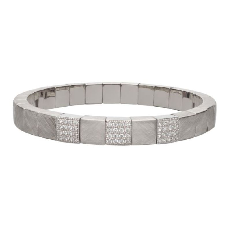 Matte 18K White Gold Stretch Bracelet with 3 Diamond Stations