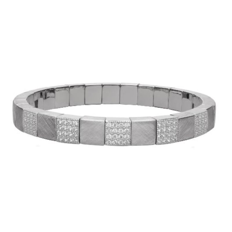 Matte 18K White Gold Stretch Bracelet with 5 Diamond Stations