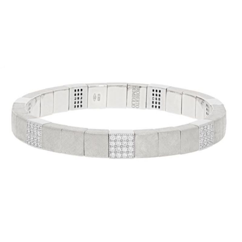 Matte 18K White Gold Stretch Bracelet with 7 Diamond Stations