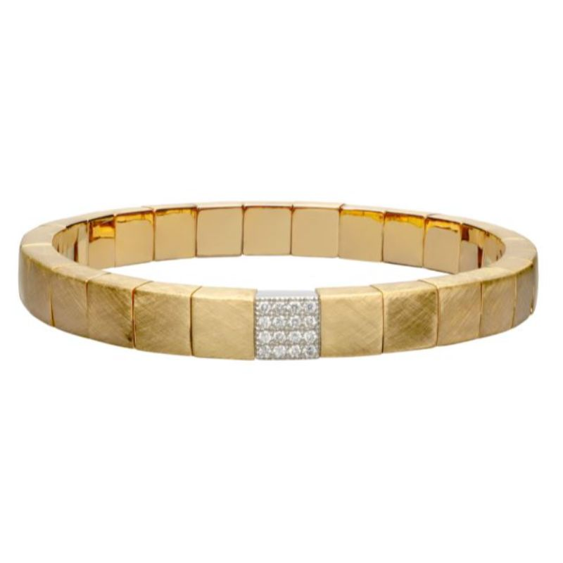Matte 18K Yellow Gold Stretch Bracelet with 1 Diamond Station