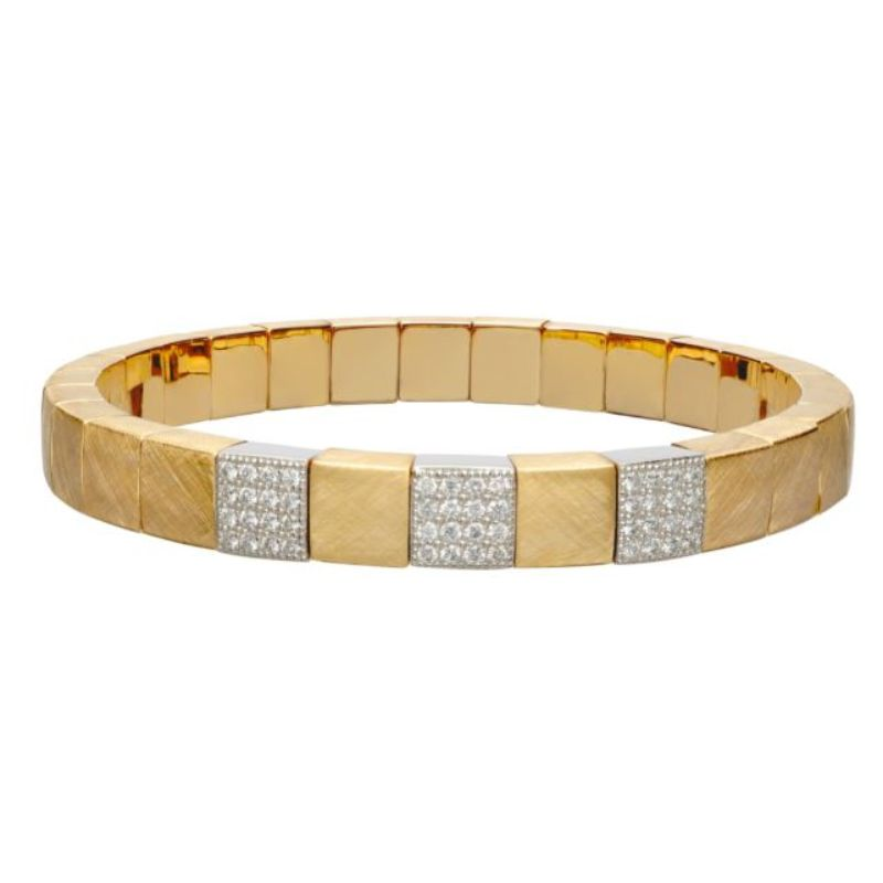 Matte 18K Yellow Gold Stretch Bracelet with 3 Diamond Stations