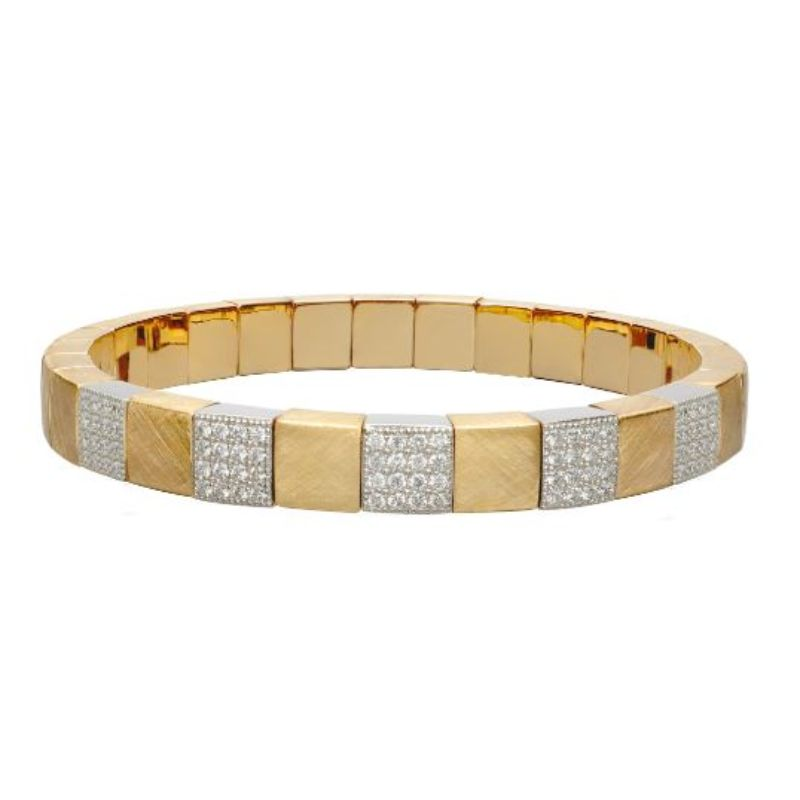 Matte 18K Yellow Gold Stretch Bracelet with 5 Diamond Stations
