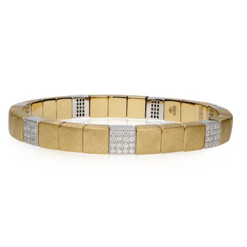 Matte 18K Yellow Gold Stretch Bracelet with 7 Diamond Stations