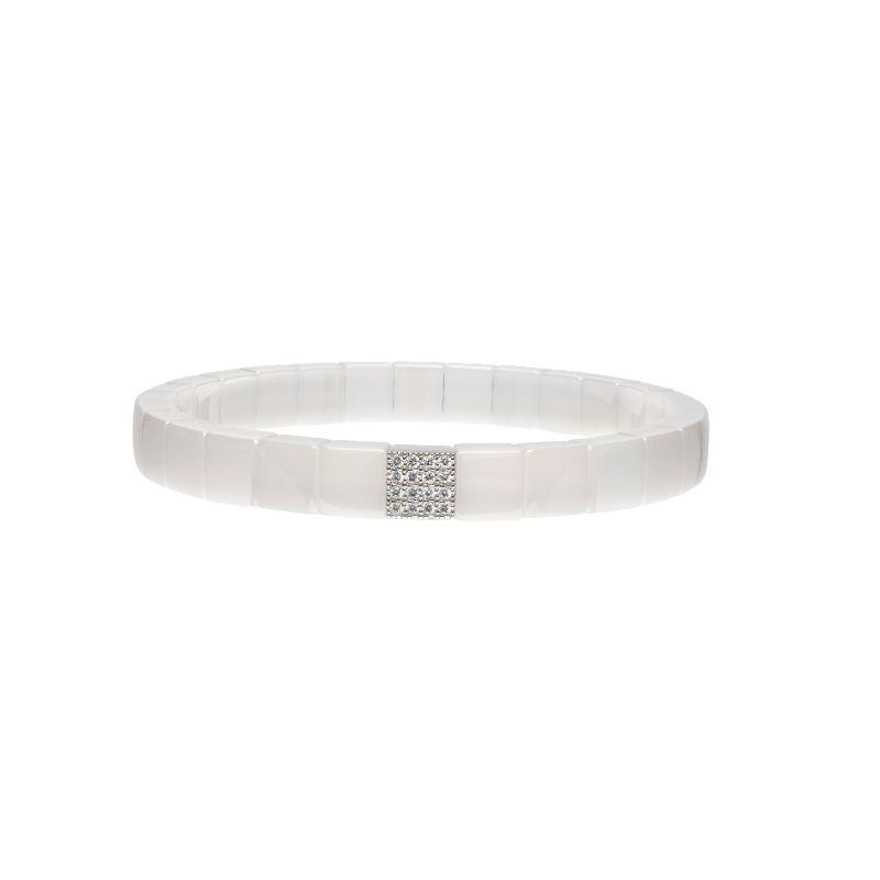 White Ceramic Stretch Bracelet with 1 Diamond Station