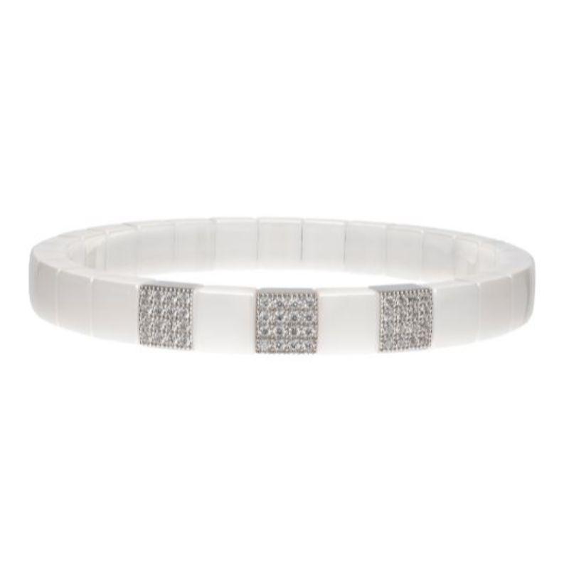White Ceramic Stretch Bracelet with 3 Diamond Stations