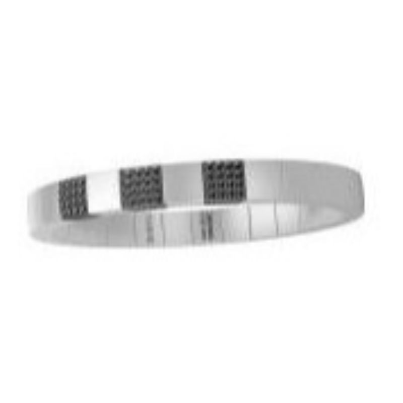 White Ceramic Stretch Bracelet with 3 Black Diamond Stations